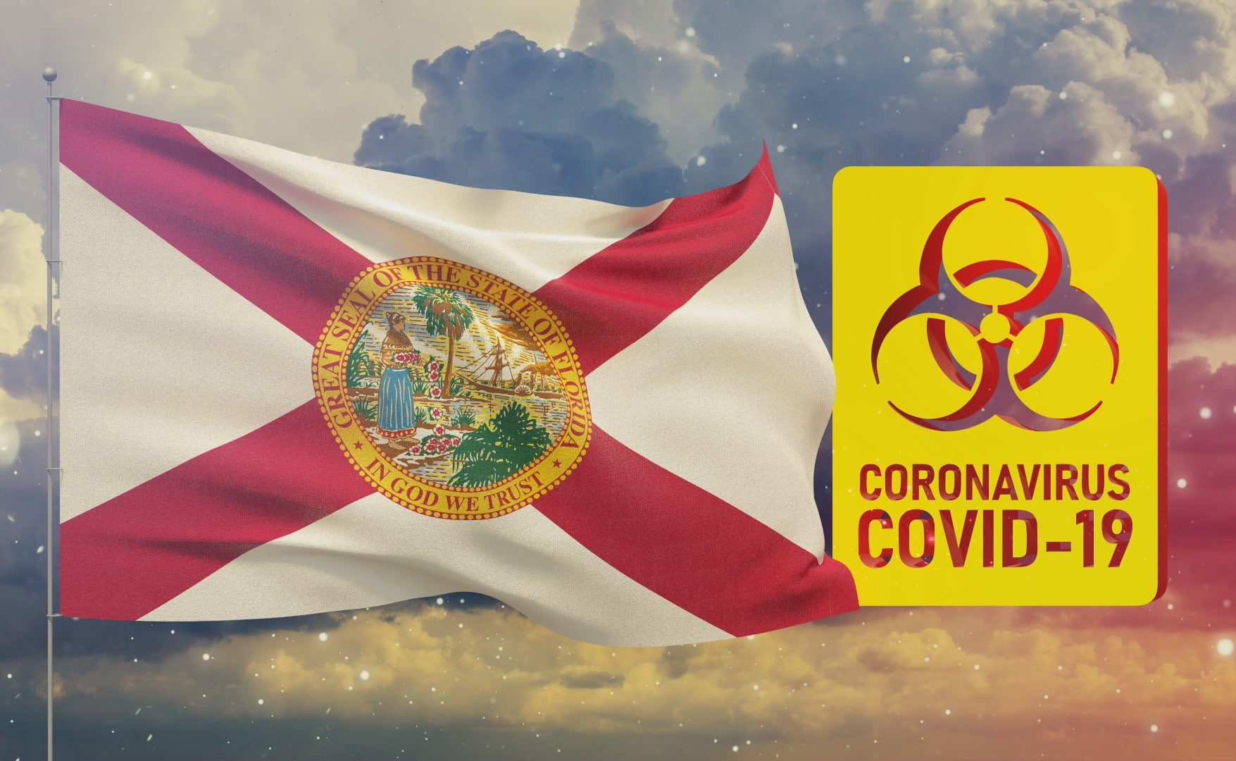 COVID-19 Visual concept - Coronavirus COVID-19 biohazard sign with flags of the states of USA. State of Florida flag. Pandemic stop Novel Coronavirus outbreak covid-19 3D illustration.