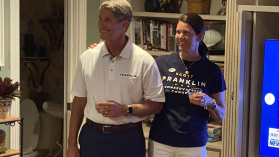 Scott Franklin celebrates his victory over U.S. Rep. Ross Spano in the Republican primary for Florida's 15th Congressional District. Image via the Scott Franklin campaign.