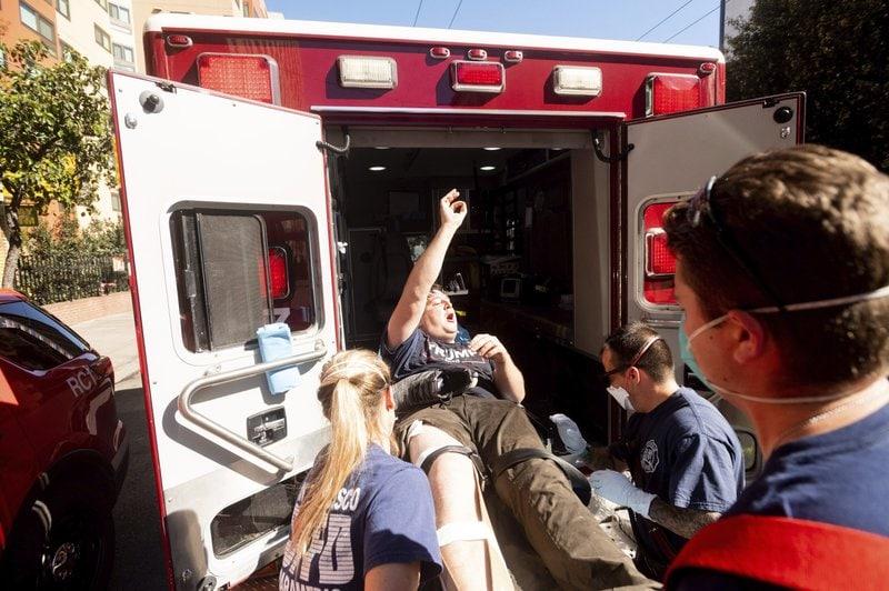 Trump supporter protest ambulance