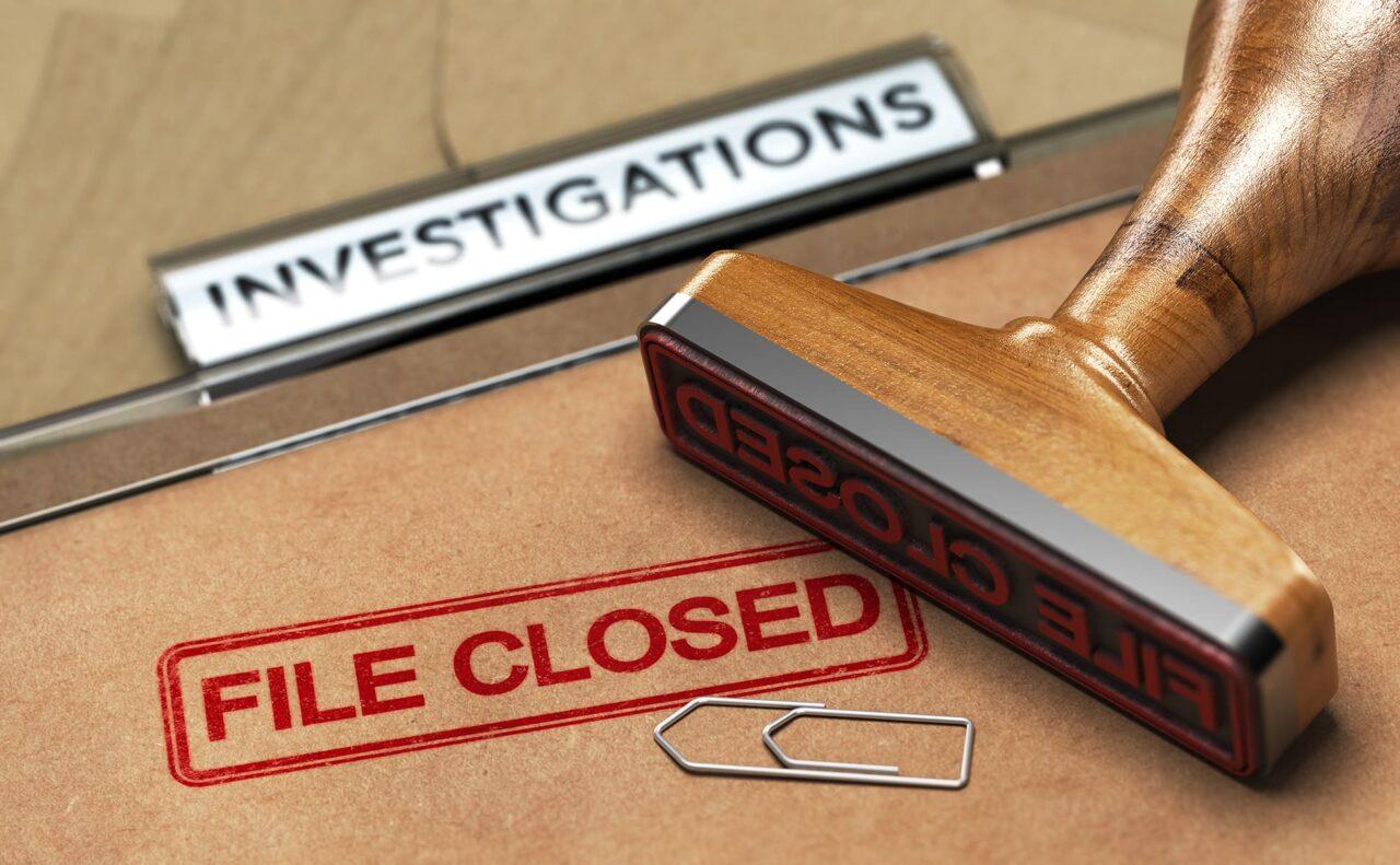 Investigative Services, Abandoned Investigation, File closed.