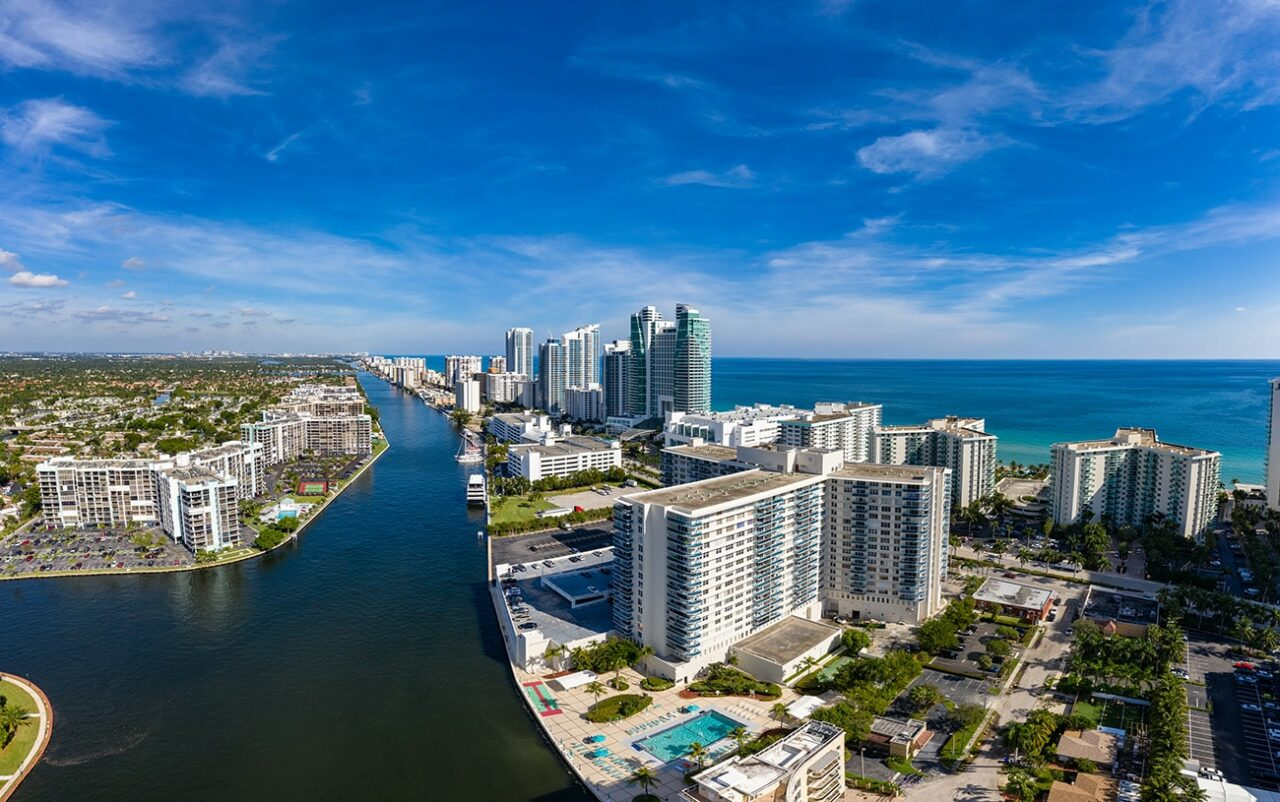 Aerial view panorama of Fort Lauderdale