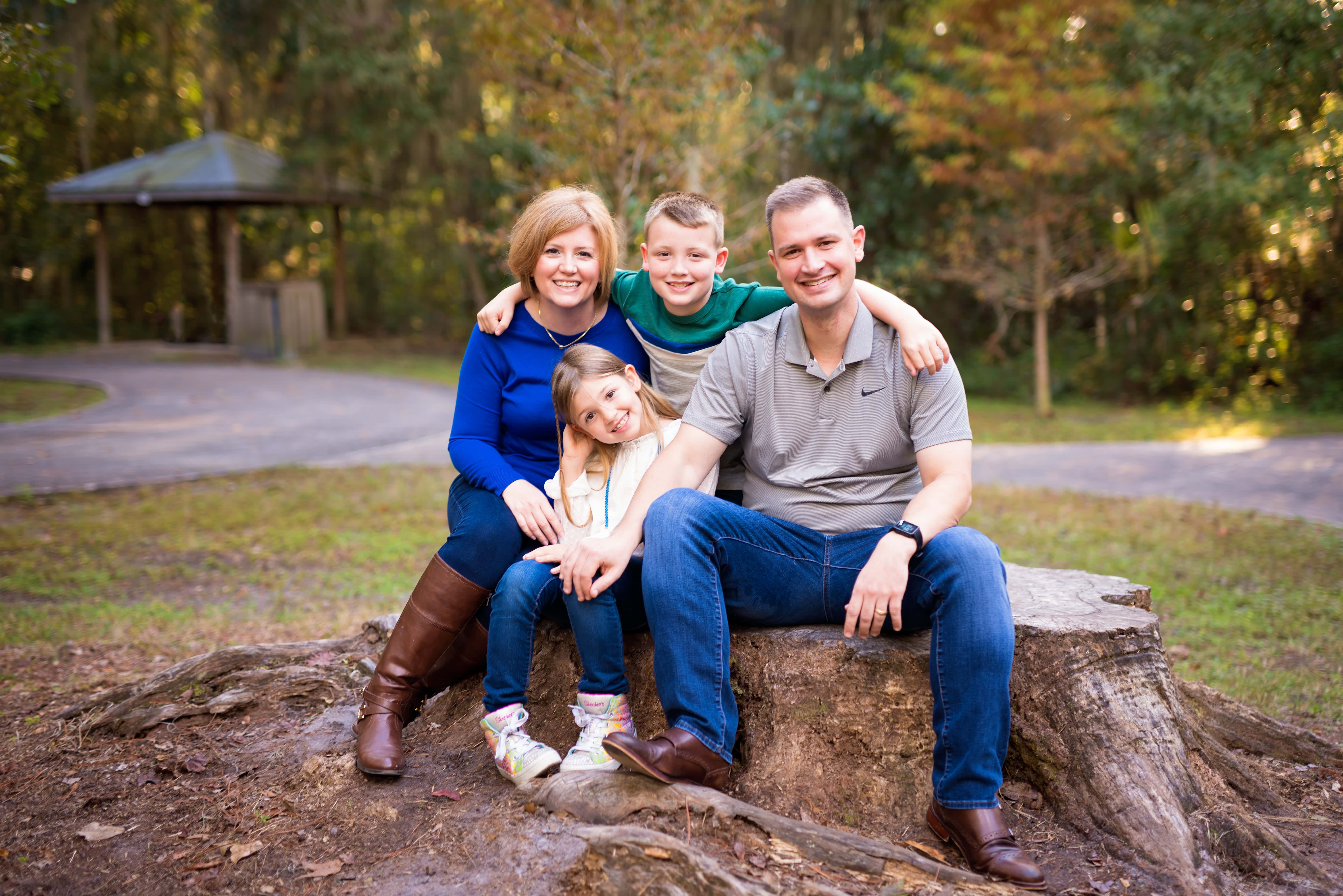 Adam Brandon with his wife, Kristi, and their children, John and Katherine.
