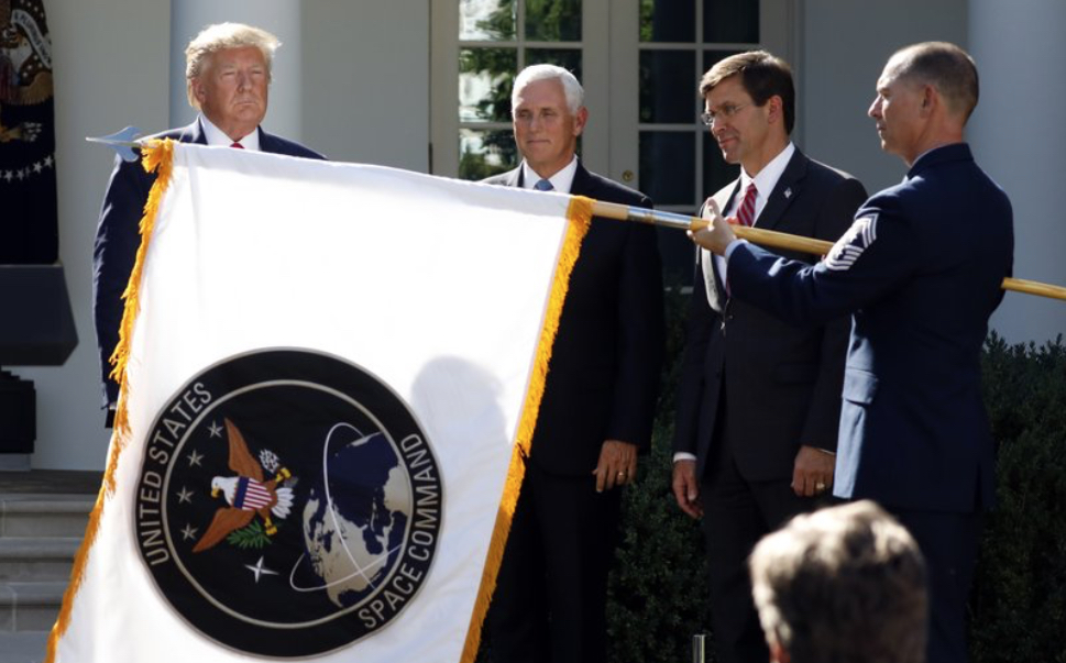 Donald Trump, Mike Pence, Mark Esper and Space Command