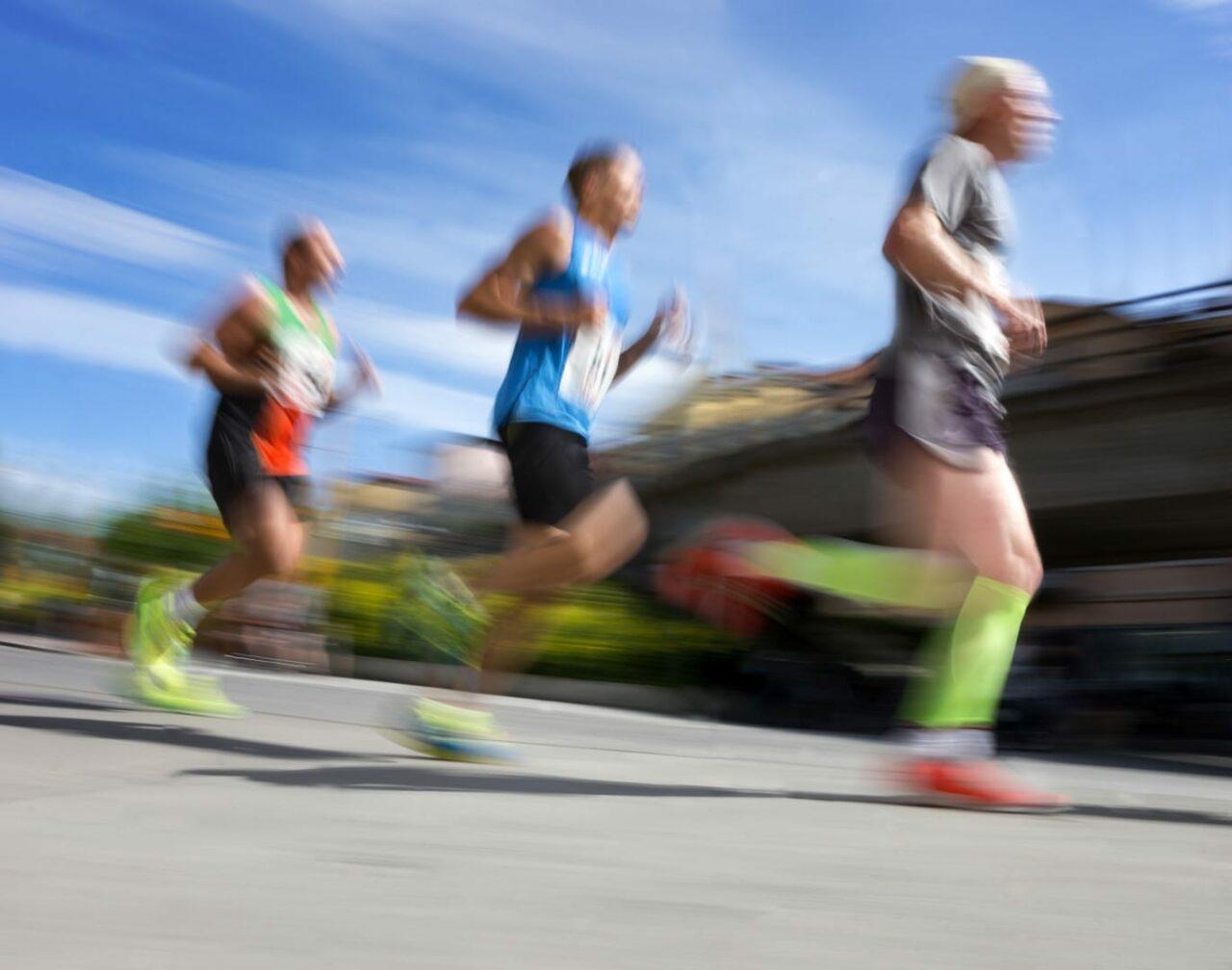 Three running men