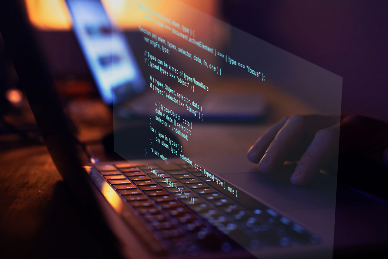 Programming code writing, software coding developing, hands typi