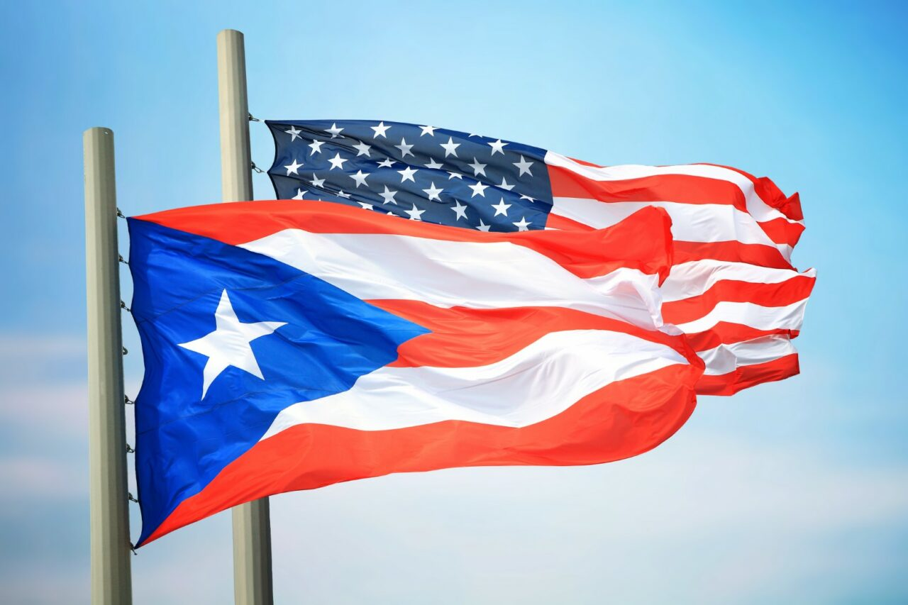 Flags of Puerto Rico and the USA